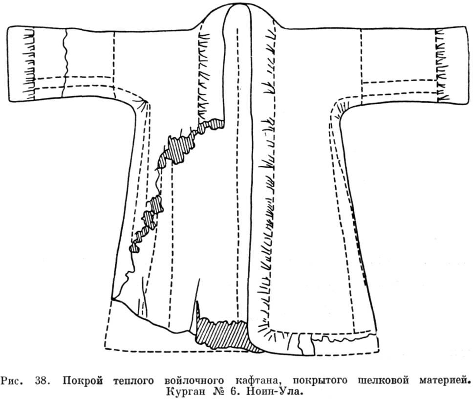 Рис. 38. .  Покрой тёплого войлочного кафтана, покрытого шёлковой материей. .